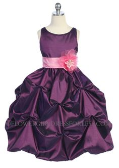 CA_D599PM - Girls Dress Style 599 - PLUM Dress with Choice of 70 Sash and Flower Options - Purple - Flower Girl Dress For Less
