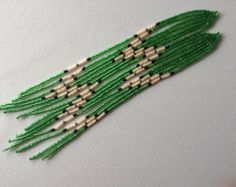 Items similar to Seahawks - Hawks kelly green and dark blue hand beaded delica necklace earring set 4 the fan in you on Etsy