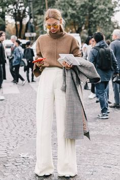 Wide-leg pants + camel pullover.