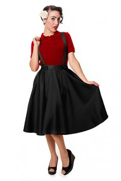 Collectif Clothing - Liesel circle skirt Black