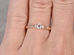 3 piedras de puro compromiso anillo rosa oro diamante por popRing