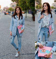 Sheinside Coat, Sheinside Shirt, Sheinside Jeans, Chic Wish Brogues, Bershka Clutch