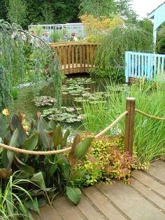 garden pond bridge