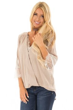 4dcc4f70b91466 Lime Lush Boutique - Latte Textured Crossover Blouse with Cream Lace  Details