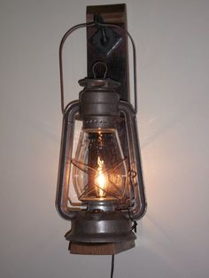 Rustic cabin lighting. Electric lantern wall fixture from BigRockLanterns