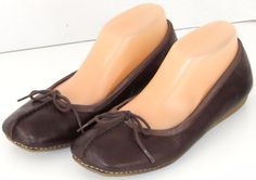 Clarks Leather Ballet Flats Tie Rustic Country Split Toe 9M #Clarks #BalletFlats #Casual