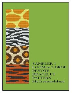 Bead Loom or Peyote Animal Print Sampler 1 OR Sampler 2 Animal Pattern Sampler Tiger Bracelet Pattern PDF
