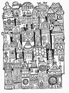 Doodle Invasion colouring book ~ architecture
