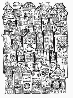 Doodle Invasion colouring book ~ architecture