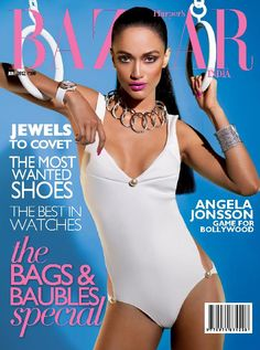 Angela Jonsson by Atul Kasbekar in Harper's Bazaar India, June 2012 Elle Magazine, Magazine Covers, Celebrity Magazines, Indian Models, Indian Celebrities, Harpers Bazaar, Bollywood Actress, Gq, Sport Outfits