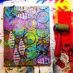 Photo by balzerdesigns http://instagram.com/p/Z1h0qqpkZa/ Fun with layers on her Gelli plate!