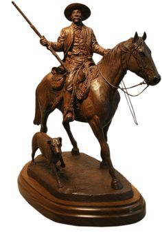 "A limited edition miniature replica of the Bass Reeves Legacy Monument in Fort Smith, Arkansas by Harold T. Holden. It is entitled ""Into the Territory""."