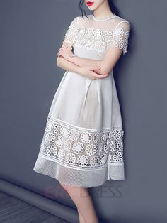 Ericdress Solid Color Lace Patchwork A-Line Ball Gown Casual Dress 3 50s Dresses, Cheap Dresses, Vintage Dresses, Frock For Women, Summer Dresses For Women, Dress Summer, Skirt Fashion, Fashion Dresses, Filipiniana Dress