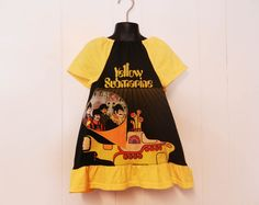 Upcycled toddler Beatles Yellow Submarine peasant dress made from men's t-shirt 3T