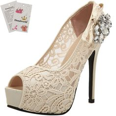 Donalworld Women Lace Up Crystal Sandals High Heel Wedding Beige Sandals Asia Size 37. Spike Heel, Crystal Floral, Lace Floral,Silk Bowknot decoration. Upper Lace and Synthenic Sole: Rubber Lining Material:PU Leather. open and Peep-toe,breathable and comfortable. Perfect for wedding ,dating ,evening party and casual occasion like club ,shopping, Simple and Fashion Design, be best choice to match your dress. Heel Hight:8-14cm, please refer the picture.