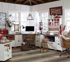 Although it's all new furniture/white, something about this bright workspace is appealing.