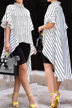 Nur-lässige asymmetrisch gestreifte weiße Blusen -#Bluse