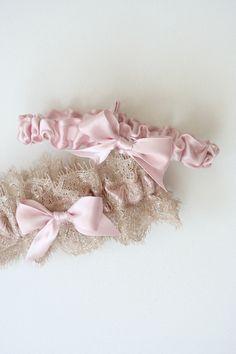 Custom Blush & Shimmering Lace - Wedding Garter Set:by The Garter Girl