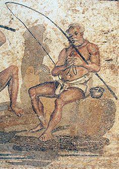 Villa of the Nile Mosaic, third mosaic, fisherman Ancient Rome, Ancient Art, Ancient History, Ancient Greece, Stone Mosaic, Mosaic Art, Roman History, Art History, Rome Painting