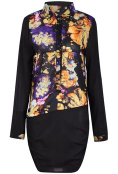 Black Long Sleeve Floral Chiffon Long Blouse US$22.95