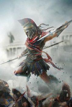 This is Sparta Gladiator Tattoo, Arte Assassins Creed, Assassins Creed Odyssey, Assassins Creed Tattoo, Greek Warrior, Fantasy Warrior, Christus Tattoo, Film Manga, Spartan Tattoo