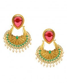 Dangling Earrings with Green Stones
