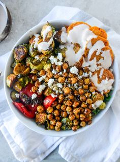 Multigrain Bowls with Maple Chipotle Brussels and Coconut-Roasted Sweet Potatoes | 29 Things You Should Eat In February