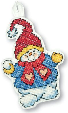 Stitch this free cross stitch chart and make a super snowman ornament for the Christmas tree. Visit our library for more free cross stitch charts!