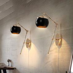 現代のホーム黒帽子ダイニングルーム壁ランプゴールドメタルボディバルコニーライトカフェライト送料無料