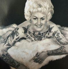 vintage stella grassman color photo print tattooed women and tattoo. Black Bedroom Furniture Sets. Home Design Ideas