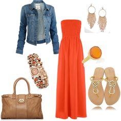 Orange maxi dress, denim jacket,  gold accessories