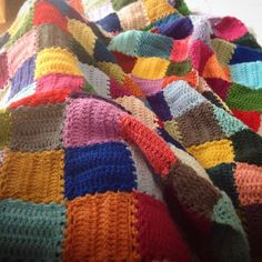 Yes it is finally done  in February 2015   I started this blanket in January 2014 making one square a day and choosing the color of this square depending on my mood … the good and happy days were brig