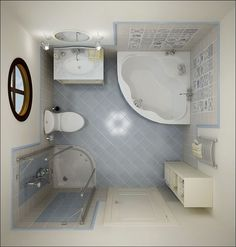 square bathroom layout stand in shower plus jacuzzi - Basement Bathroom Design