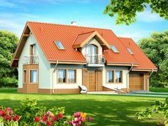This four bedroom classic house design is an interesting proposition for people with medium-wide plot. The house has a typical shape, which greatly facilitates the construction process. Classic House Design, Small House Design, Modern House Design, Duplex House Plans, Small House Plans, House Floor Plans, Modern Architectural Styles, Brick Accent Walls, Looking For Houses