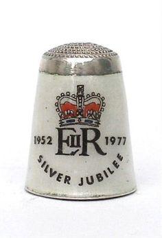 Celebrating the Silver Jubilee of Queen Elizabeth II in 1977. Enamel on hallmarked silver, maker JS&S. The reverse is plain.