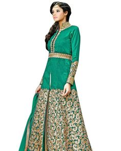 Vibes Women's Pure Banglori Silk Anarkali Style Unstiched Dress Material (V358-3002) Product Price:Rs.1899.00 INR And For You Our Deal Price:999.00