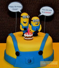 Minions cake with handmade toppers