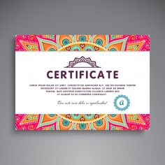 Ethnic floral certificate template Free Vector Certificate Layout, Certificate Of Participation Template, Certificate Background, Certificate Design Template, Certificate Of Achievement, Poster Background Design, Mandala, Certificate Of Appreciation, Best Web Design