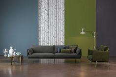 Sofa & Armchair STRUCTURE in green velvet and grey fabric, Coffee table MONFORTE New Collection 2015 By Bonaldo www.bonaldo.it
