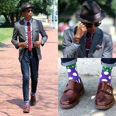 Justin T - Stacy Adams Hat, H&M Blazer, Pretty Fly Society Knit Tie, Forever 21 Denim, Pretty Fly Society Socks, Banana Republic Shoes - Chasing Time
