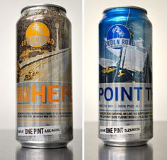 Smart package design for great beer made in LA.  Shiny metallic can and road graphics evoke car culture of Southern California.