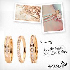 O kit de anéis com zircônias é delicado e romântico! | Amandhí | www.amandhi.com |