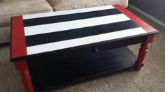 Red White Black Striped Coffee Table