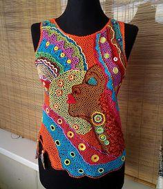 Купить Краски Африки - комбинированный, летняя одежда, крючком, африка, хлопок 100%, яркий, топ