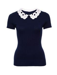Skye Top | Navy & Cream | Knitwear Tops