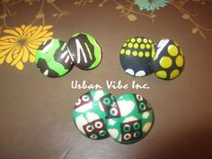 Sale Urban Button Earrings Set of 3  Neon Natural by snchastang25, $15.00