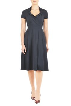 $55 Our soft knit dress inspired by vintage styling is fashioned with a banded waist and a cross-over sweetheart neckline looped at the sides.