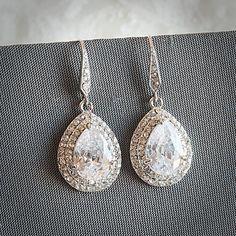 Bridal Earrings, Rhinestone Dangle Wedding Earrings, Teardrop Zirconia Crystal Chandelier Drop Earrings, Vintage Style Bridal Jewelry, LYNN on Etsy, $43.00