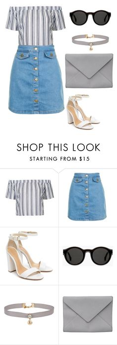 """Bardot and choker "" by anyaaa04 on Polyvore featuring Topshop, Schutz, Mykita, Miss Selfridge and Ann Demeulemeester"