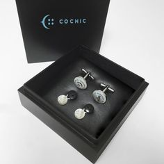 COCHIC - Cufflinks and Shirt Collar Extenders- 2 White Chics Extenders White Chic, Pocket Square, Diamond Earrings, Cufflinks, Silk, Handmade, Jewelry, Dots, Diamond Studs